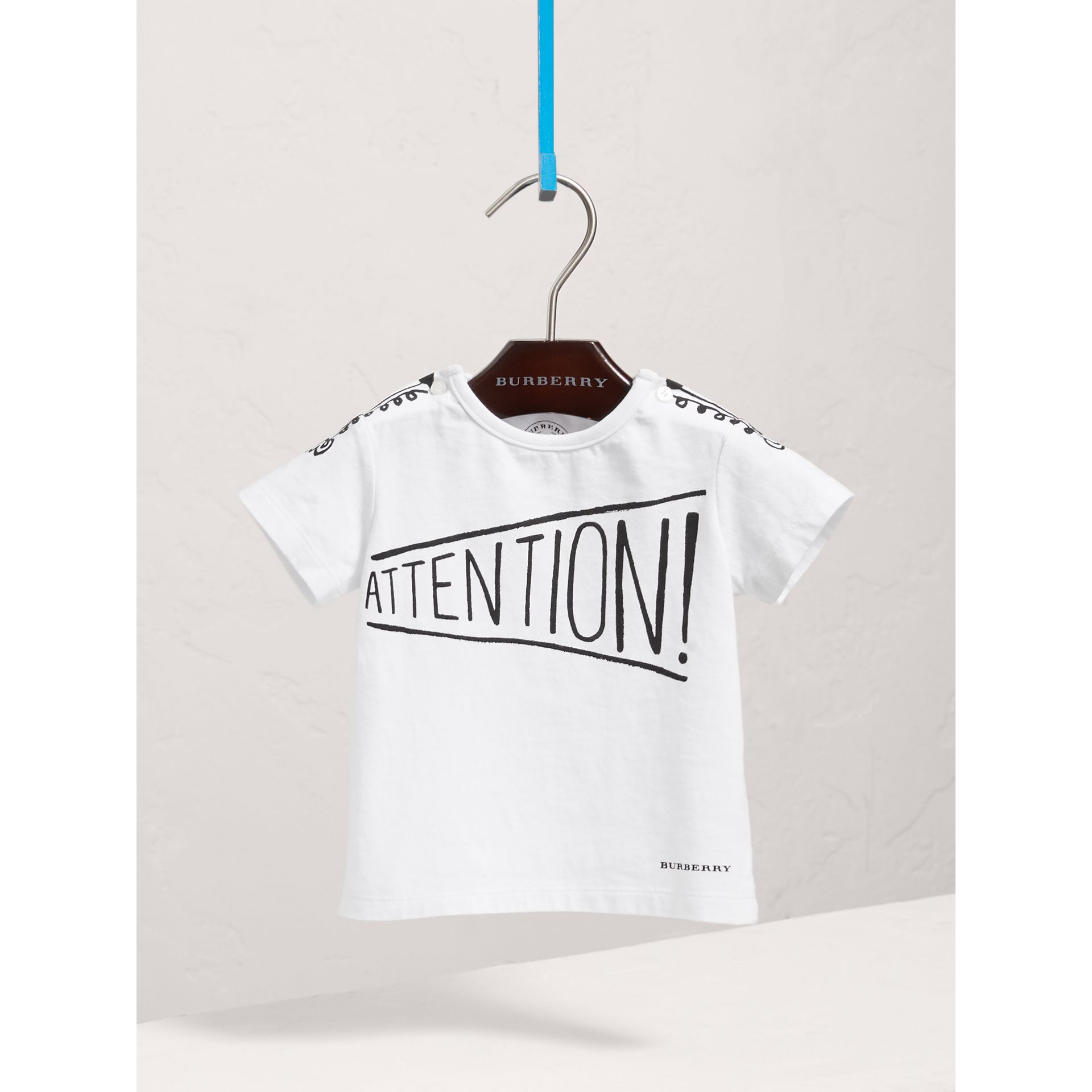 Attention Print Cotton T-shirt in White | Burberry - gallery image 0