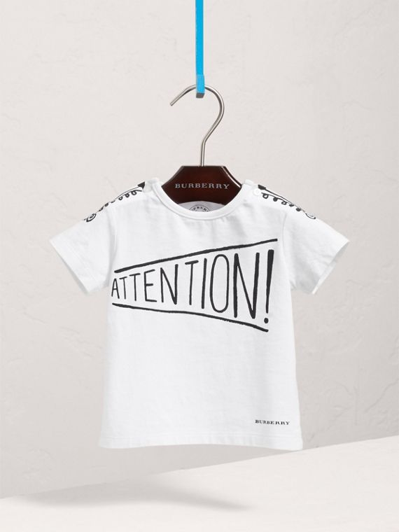 Attention Print Cotton T-shirt in White