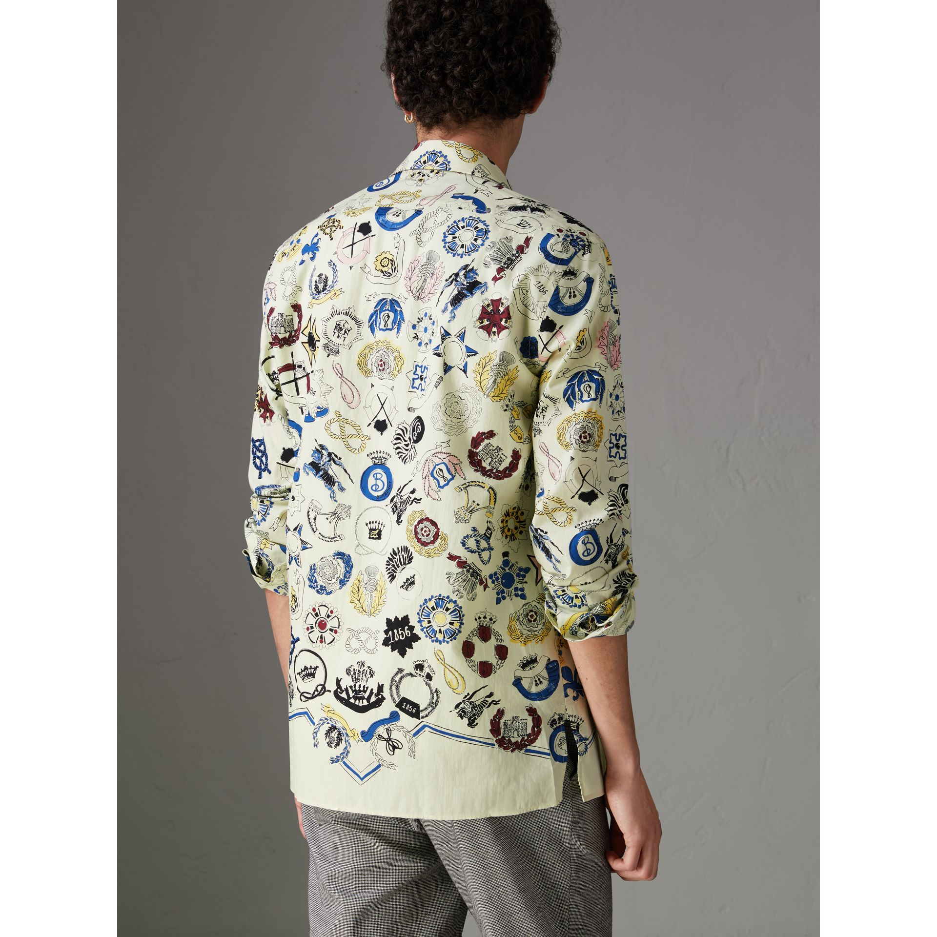 Emblem Print Cotton Shirt in Natural White - Men | Burberry - gallery image 2