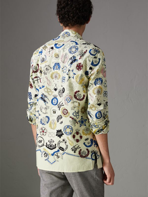 Emblem Print Cotton Shirt in Natural White - Men | Burberry - cell image 2