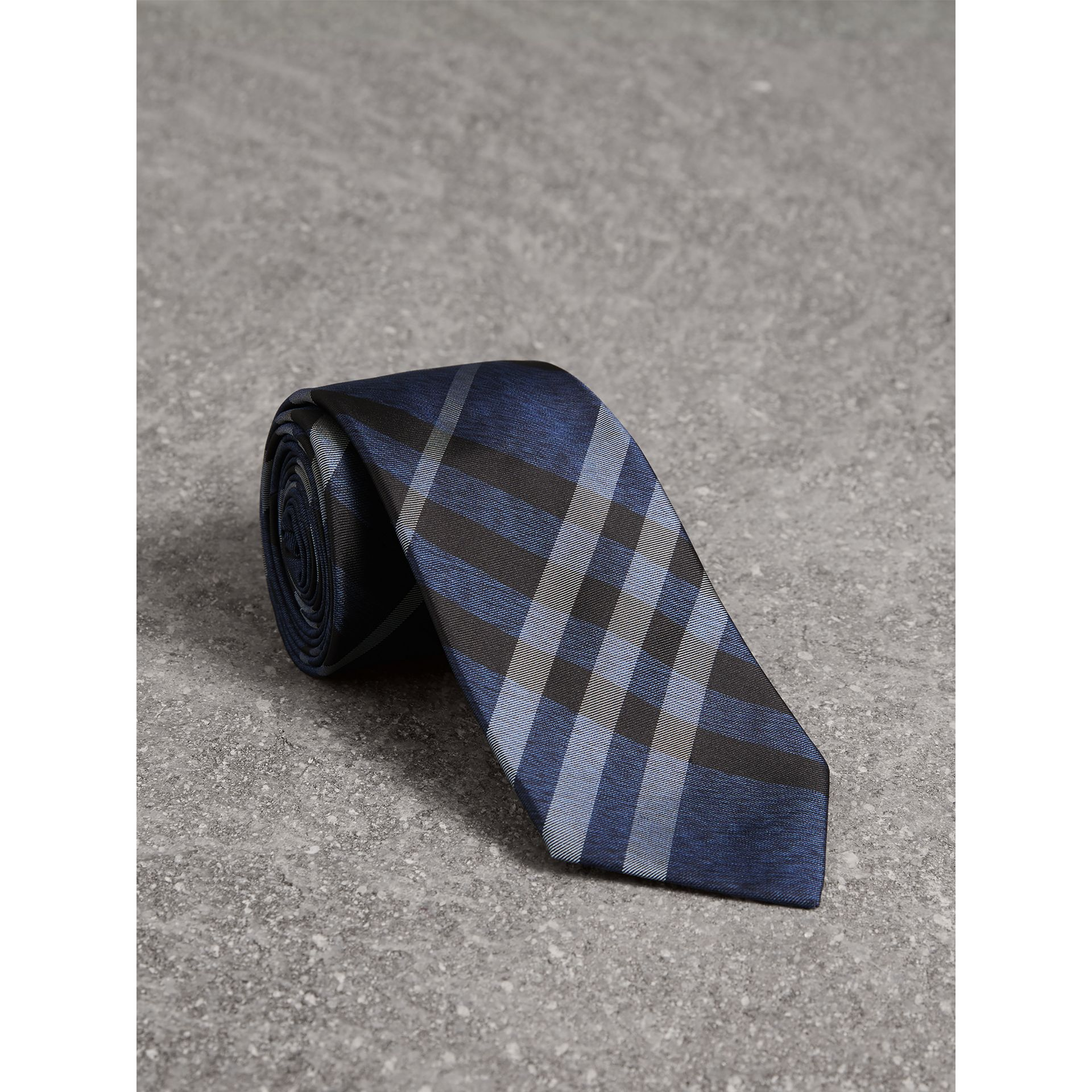 Modern Cut Check Silk Tie in Navy - Men | Burberry - gallery image 0