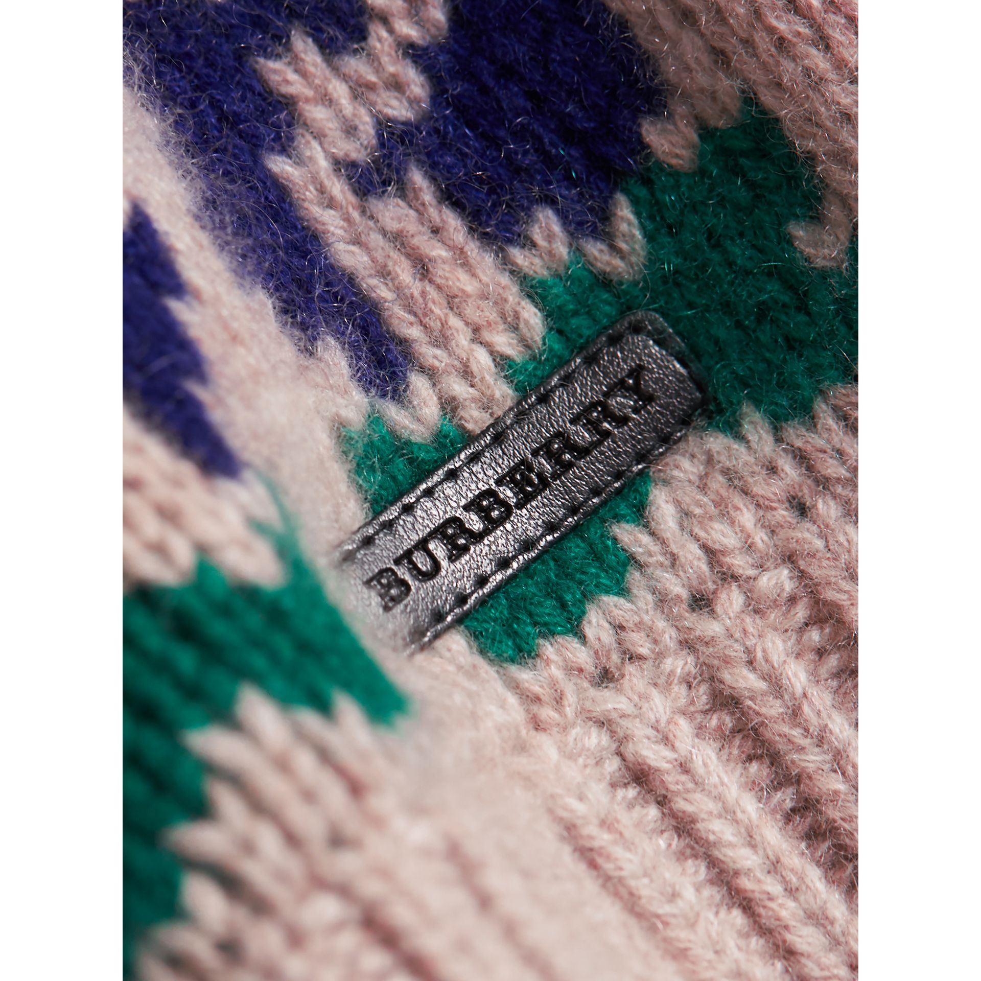 Exploded Fair Isle Wool Cashmere Sweater in Pale Cinnamon | Burberry Singapore - gallery image 2