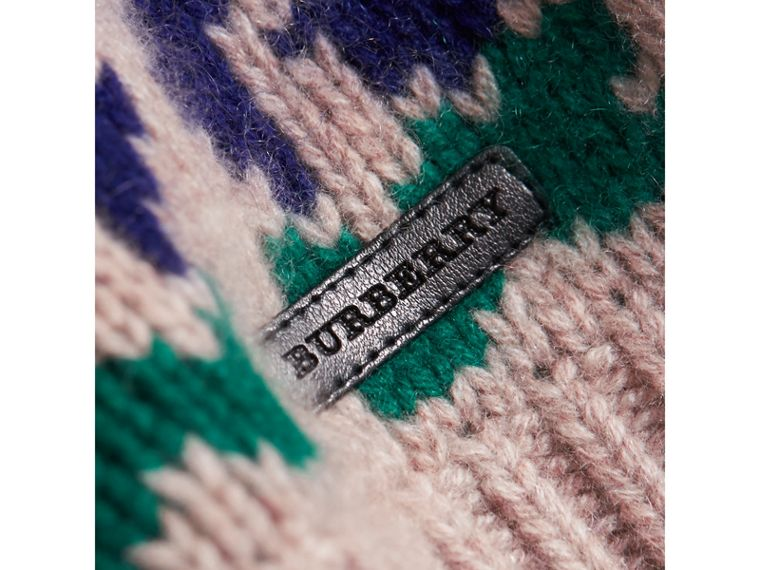 Exploded Fair Isle Wool Cashmere Sweater in Pale Cinnamon | Burberry United Kingdom - cell image 1