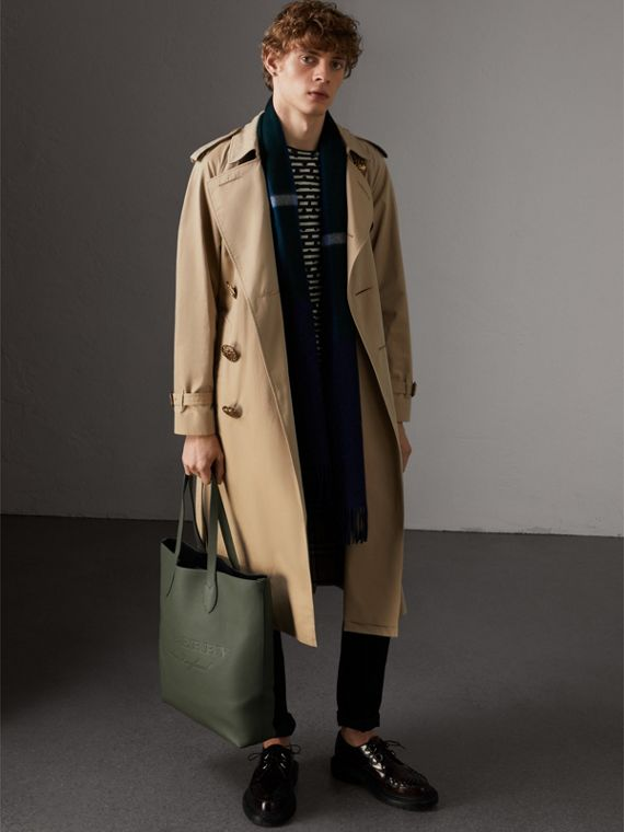 Medium Embossed Leather Tote in Slate Green | Burberry - cell image 3