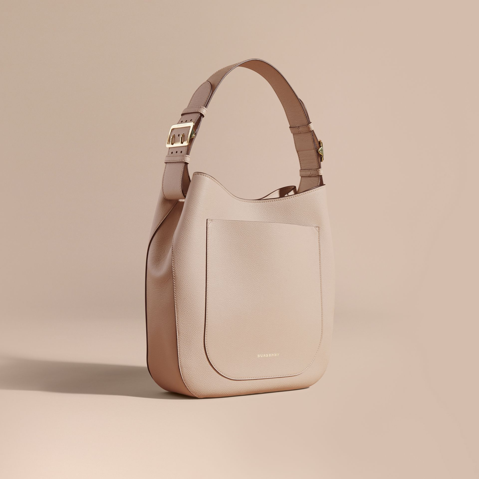Limestone Textured Leather Shoulder Bag Limestone - gallery image 1