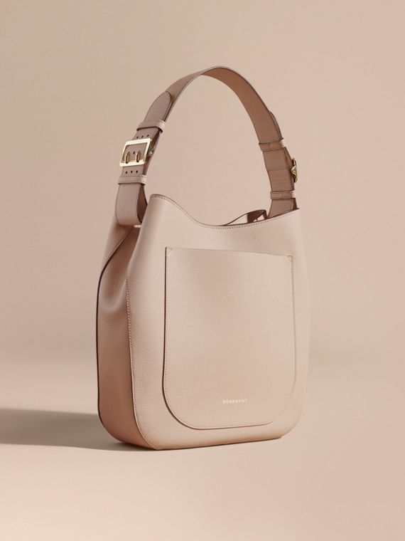 Textured Leather Shoulder Bag Limestone