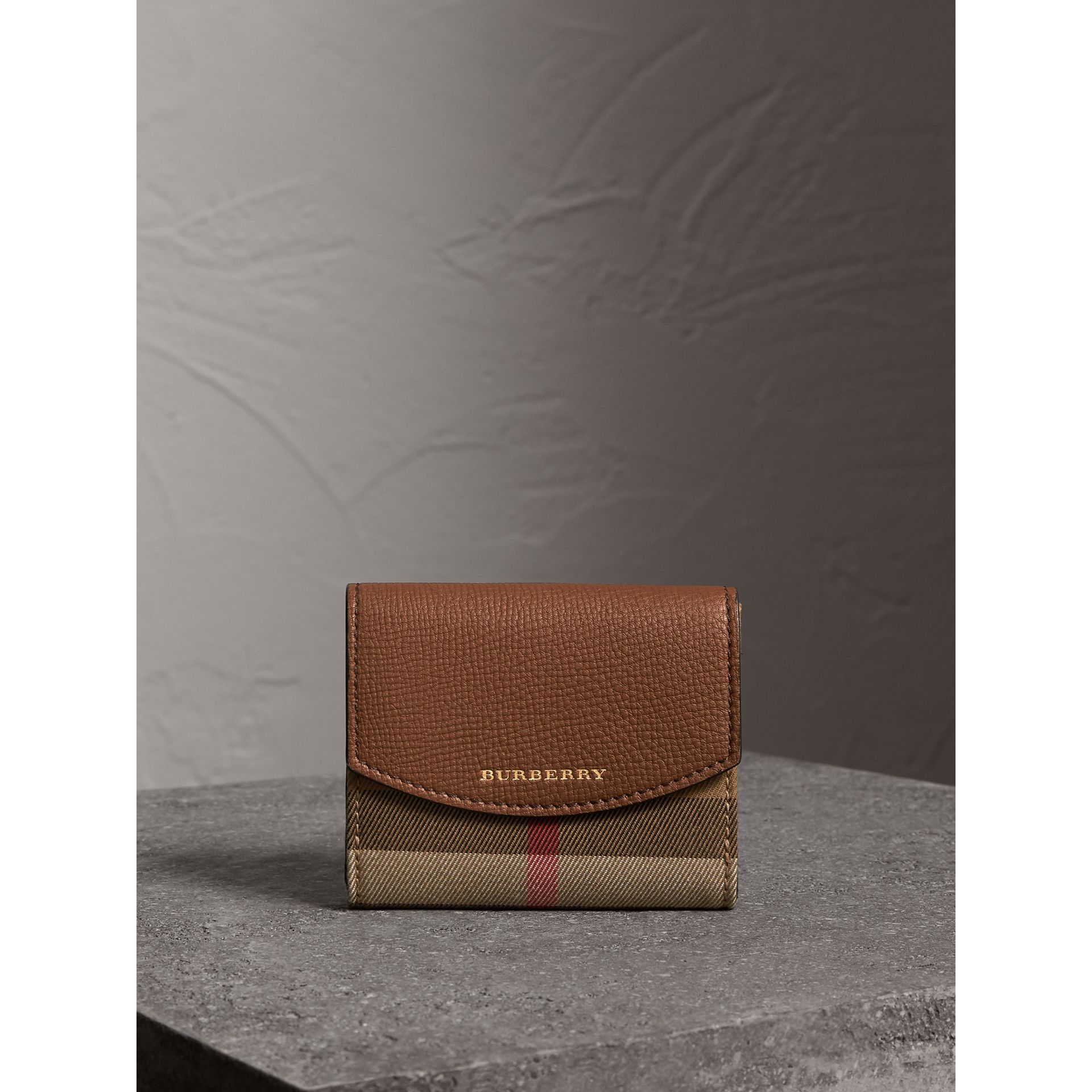 House Check and Leather Wallet in Tan - Women | Burberry Australia - gallery image 4