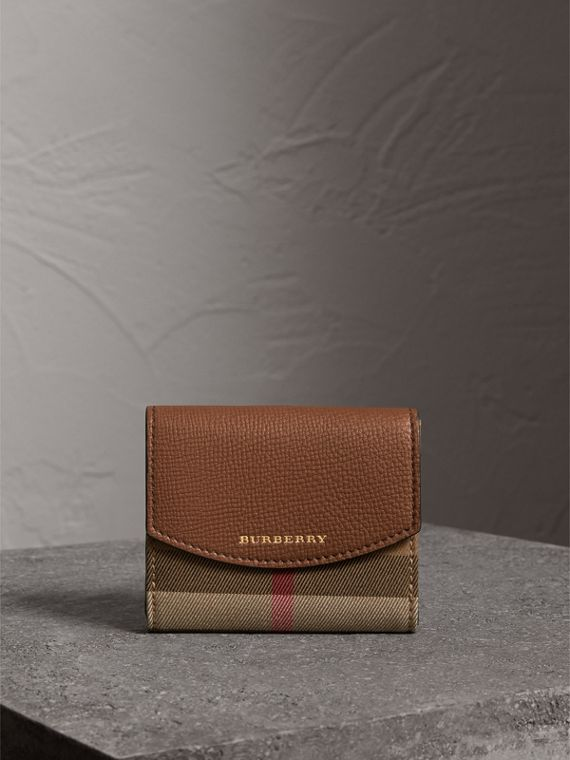 House Check and Leather Wallet in Tan