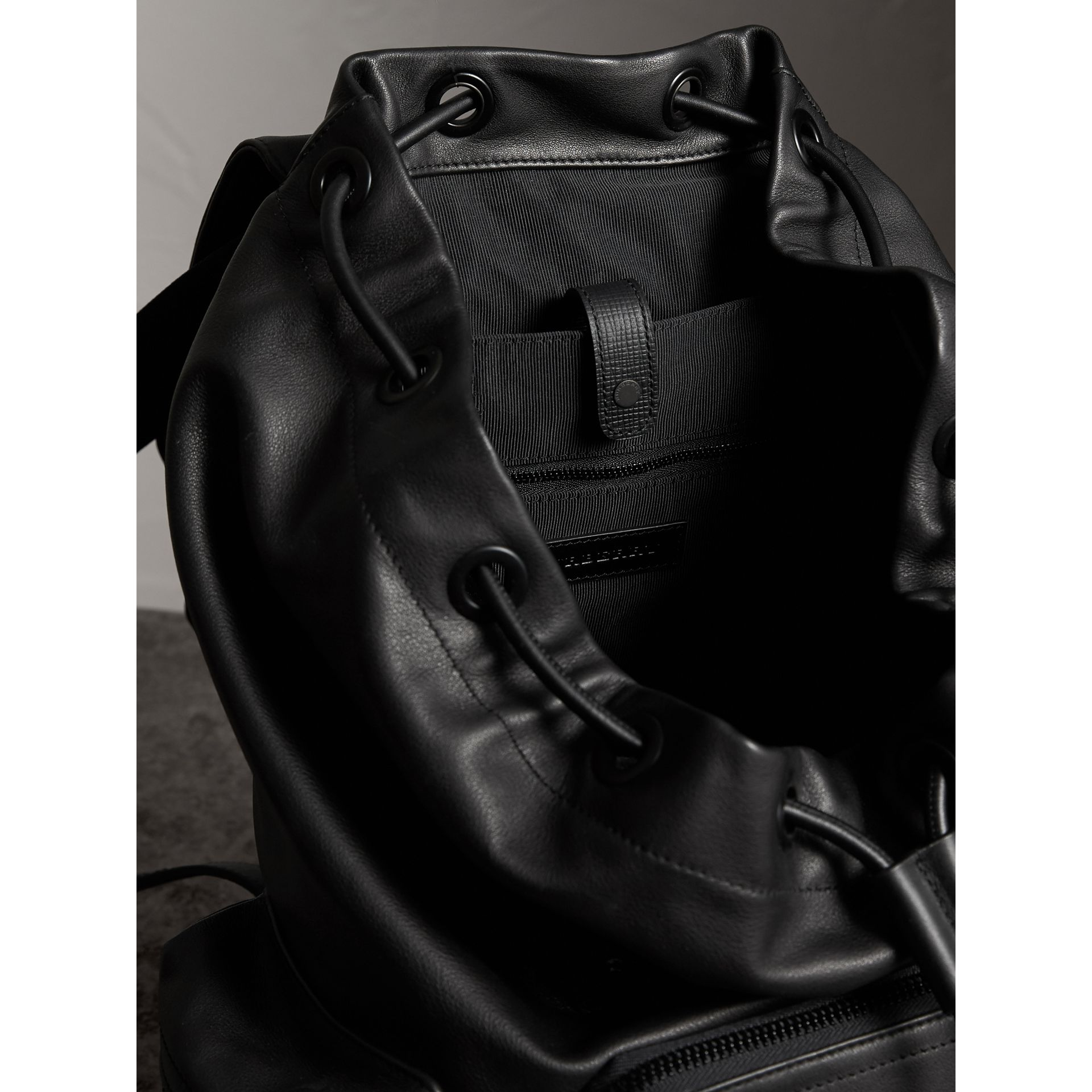 The Large Rucksack in Water-repellent Leather in Black - Men | Burberry - gallery image 5