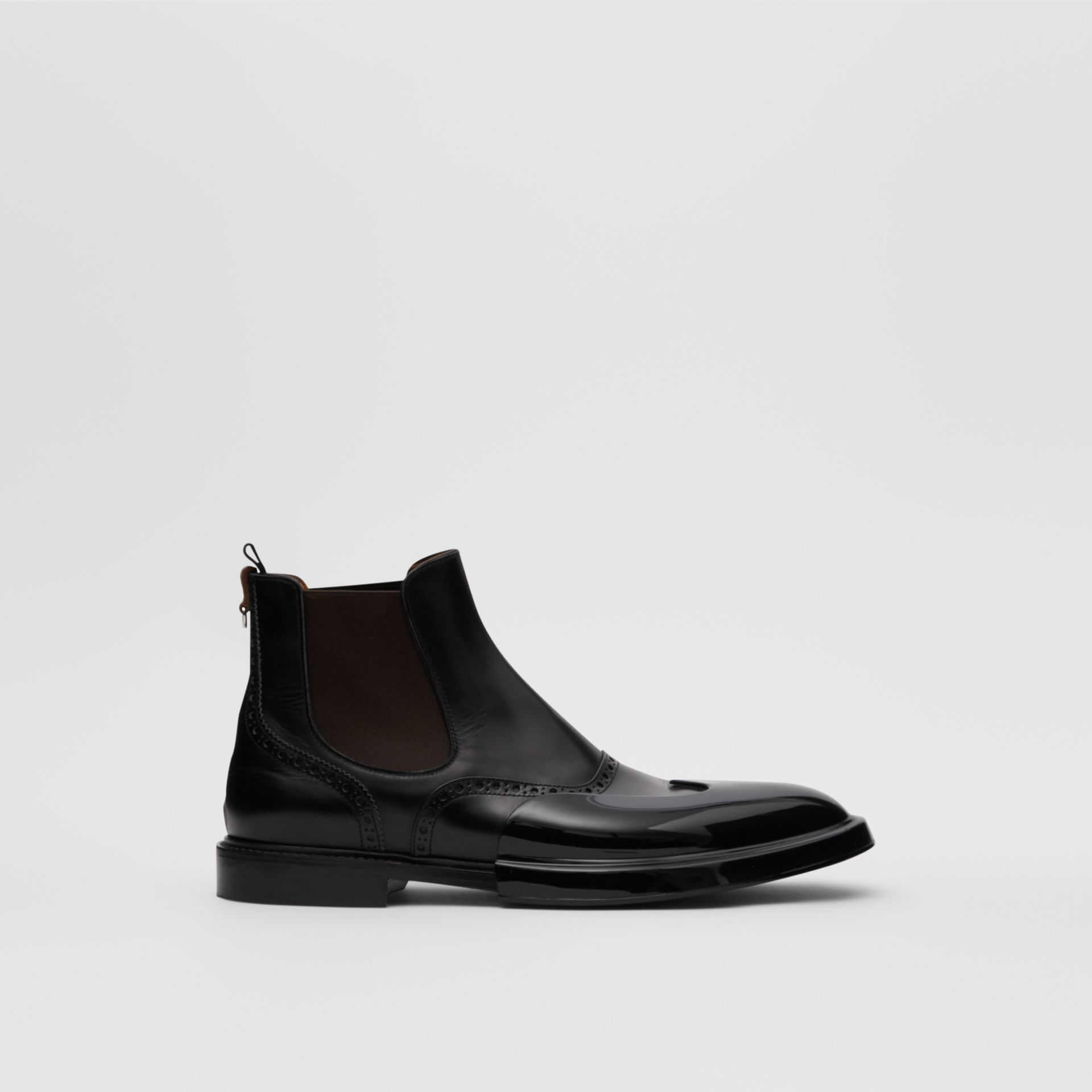 Toe Cap Detail Leather Chelsea Boots in Black | Burberry - gallery image 4