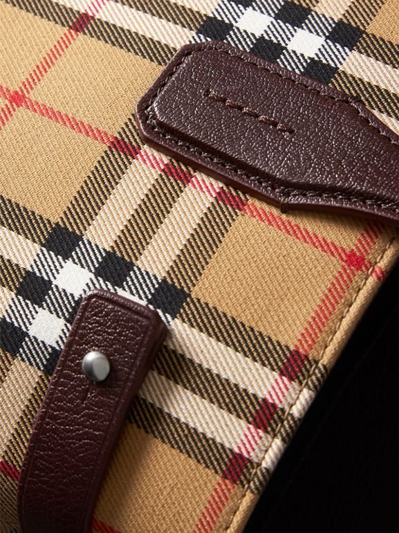The Medium Banner in Vintage Check and Leather in Deep Claret - Women | Burberry - cell image 1