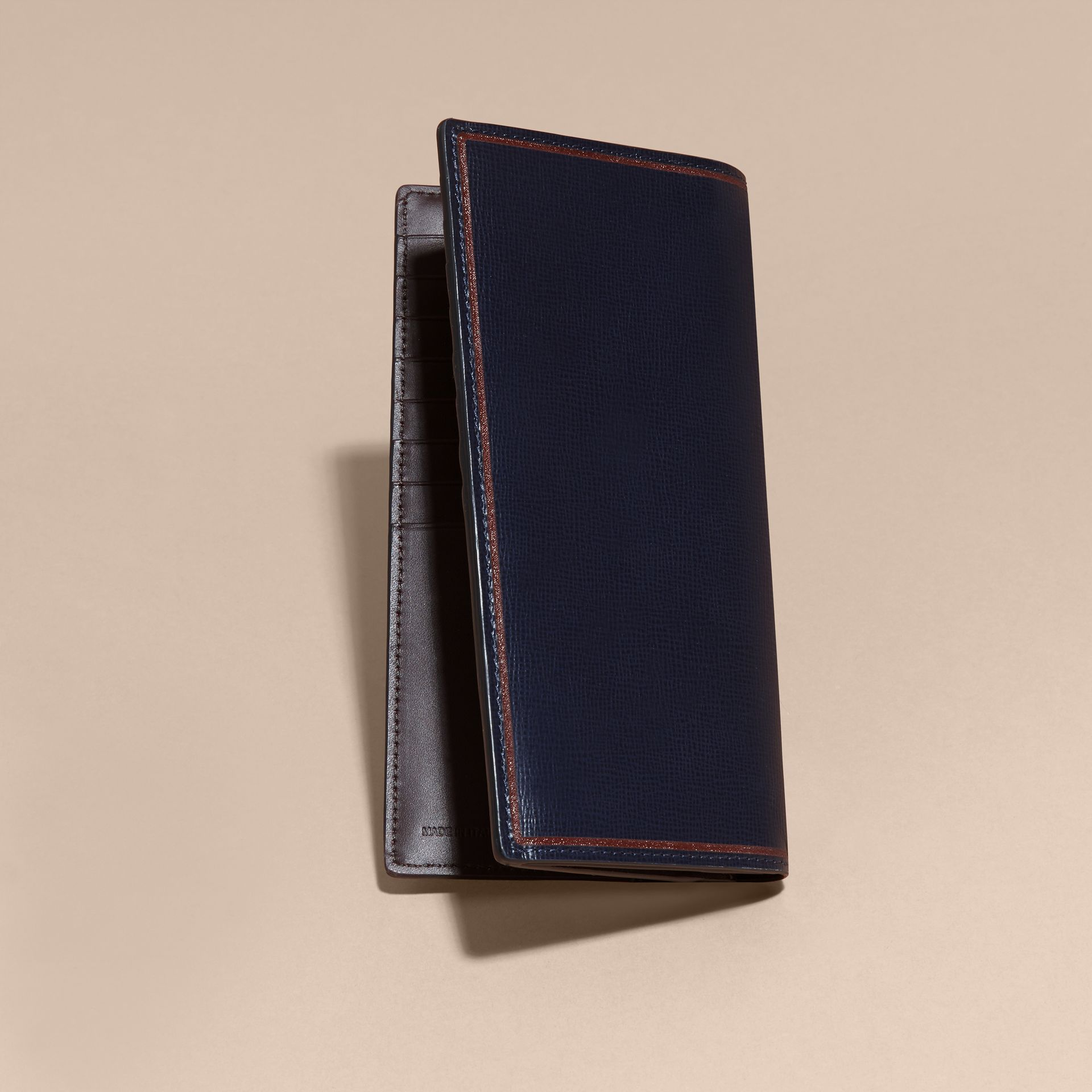 Border Detail London Leather Continental Wallet Dark Navy - gallery image 3