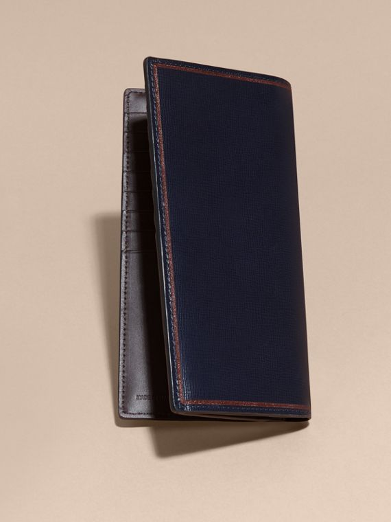 Border Detail London Leather Continental Wallet Dark Navy - cell image 2