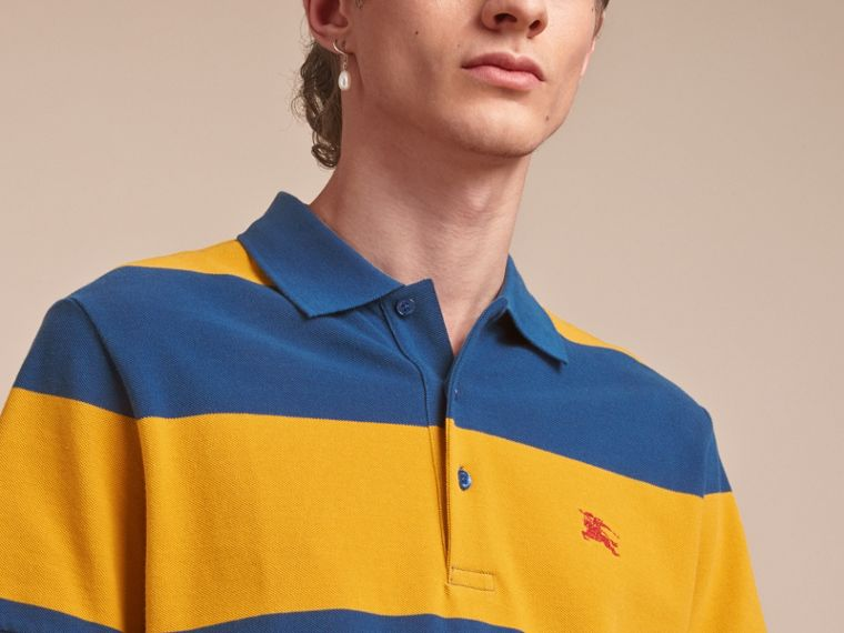 Striped Cotton Piqué Polo Shirt in Ochre Yellow/bright Navy - Men | Burberry - cell image 4