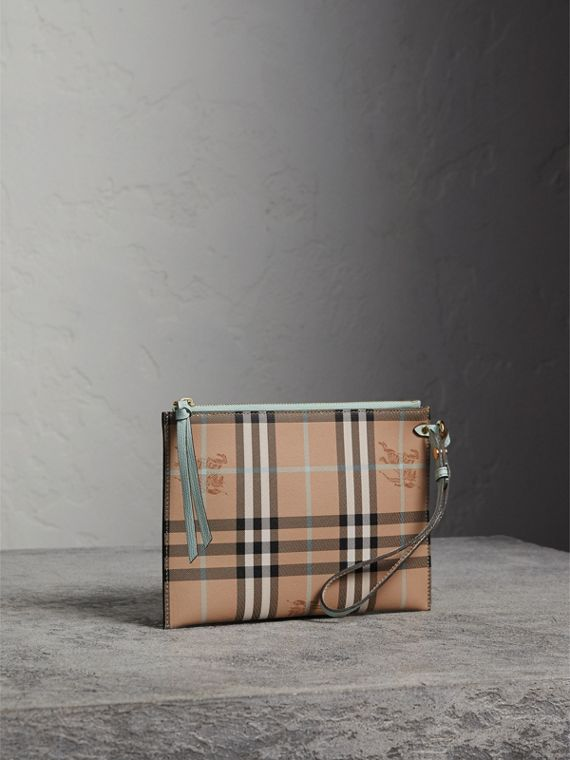 Haymarket Check Leather Pouch in Pale Opal - Women | Burberry Canada - cell image 3