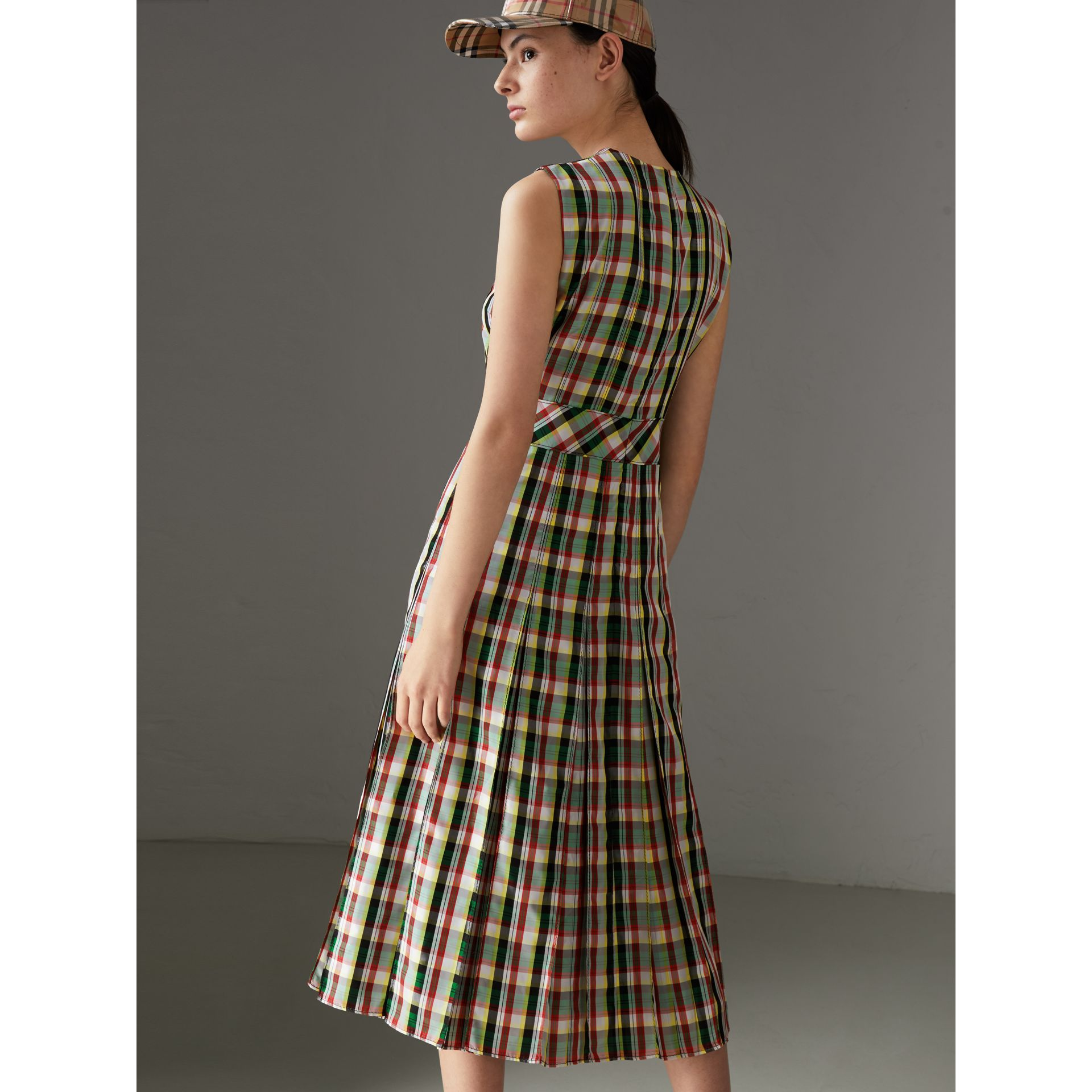 Sleeveless Pleat Detail Check Georgette Dress in Pine Green - Women | Burberry United Kingdom - gallery image 2