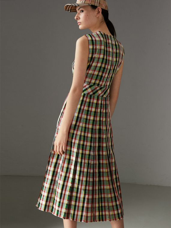 Sleeveless Pleat Detail Check Georgette Dress in Pine Green - Women | Burberry United States - cell image 2