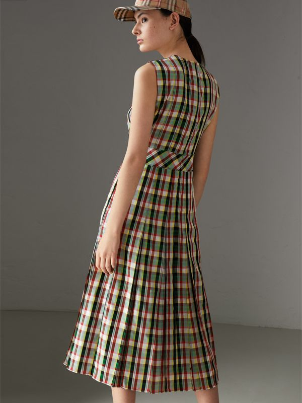 Sleeveless Pleat Detail Check Georgette Dress in Pine Green - Women | Burberry - cell image 2