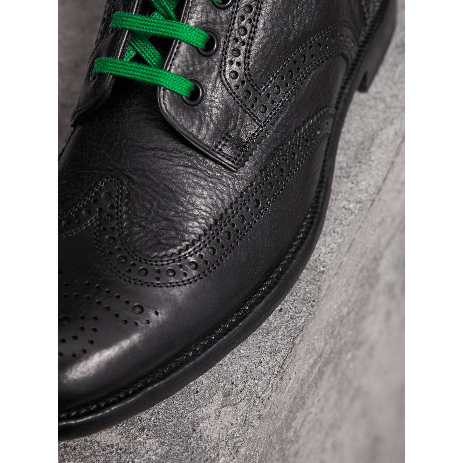 Leather Brogue Boots with Bright Laces in Black - Men | Burberry United Kingdom - gallery image 2
