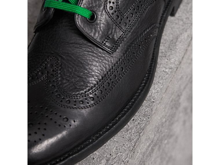 Leather Brogue Boots with Bright Laces in Black - Men | Burberry United Kingdom - cell image 1