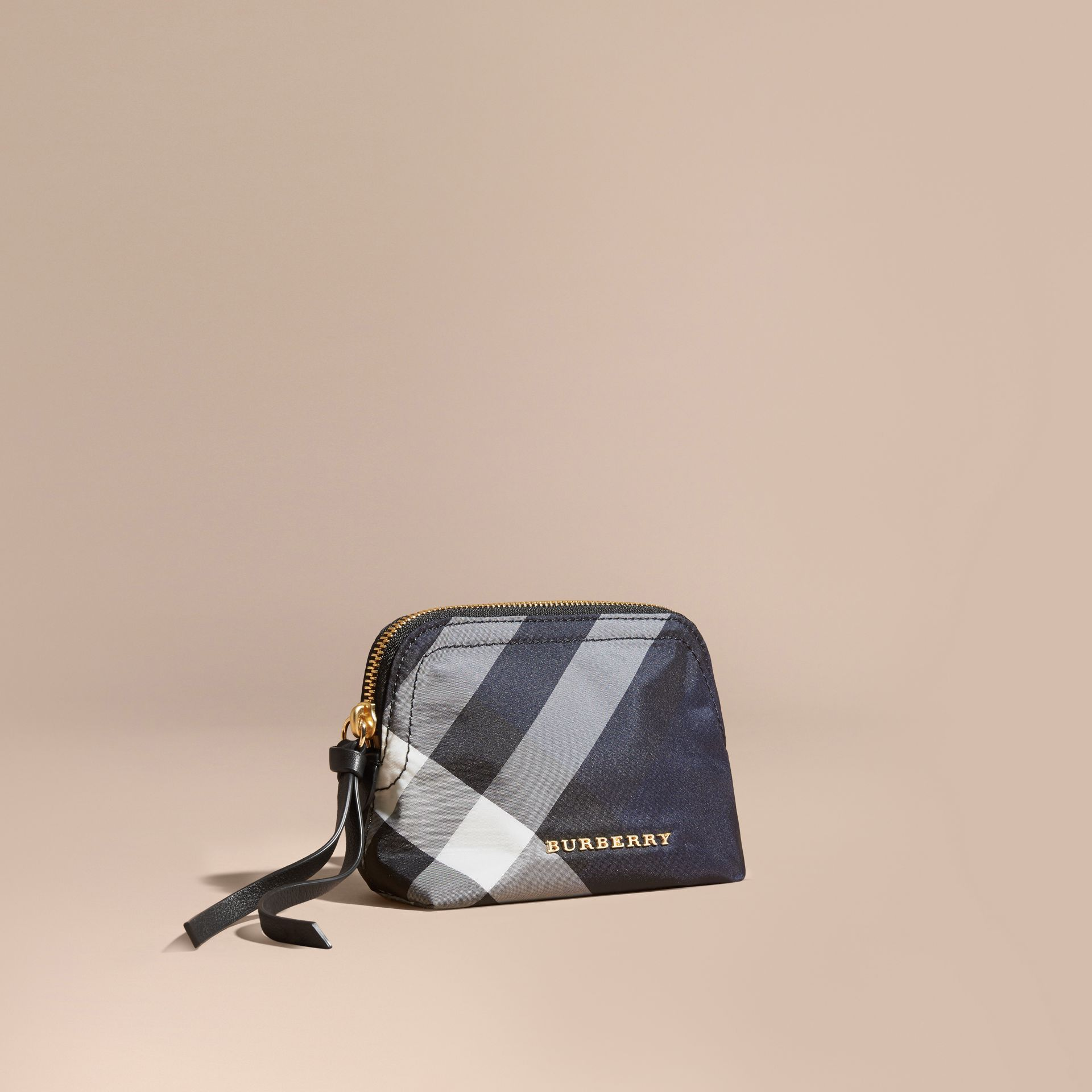 Small Zip-top Check Pouch in Indigo Blue - Women | Burberry Hong Kong - gallery image 1