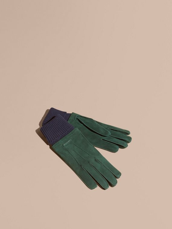 Wool Cashmere Ribbed Trim Suede Gloves Dark Cedar Green