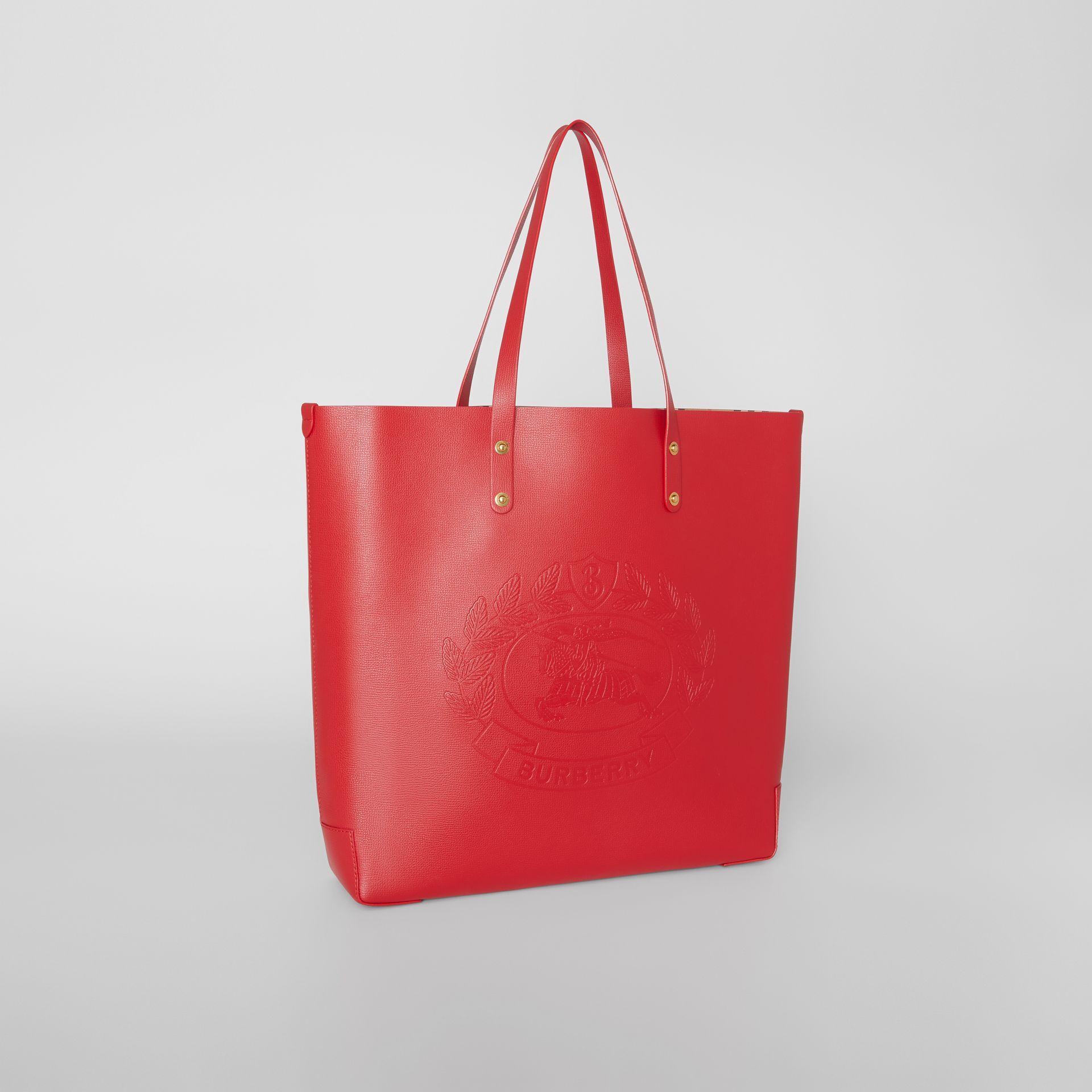 Large Embossed Crest Leather Tote in Rust Red - Women | Burberry - gallery image 6