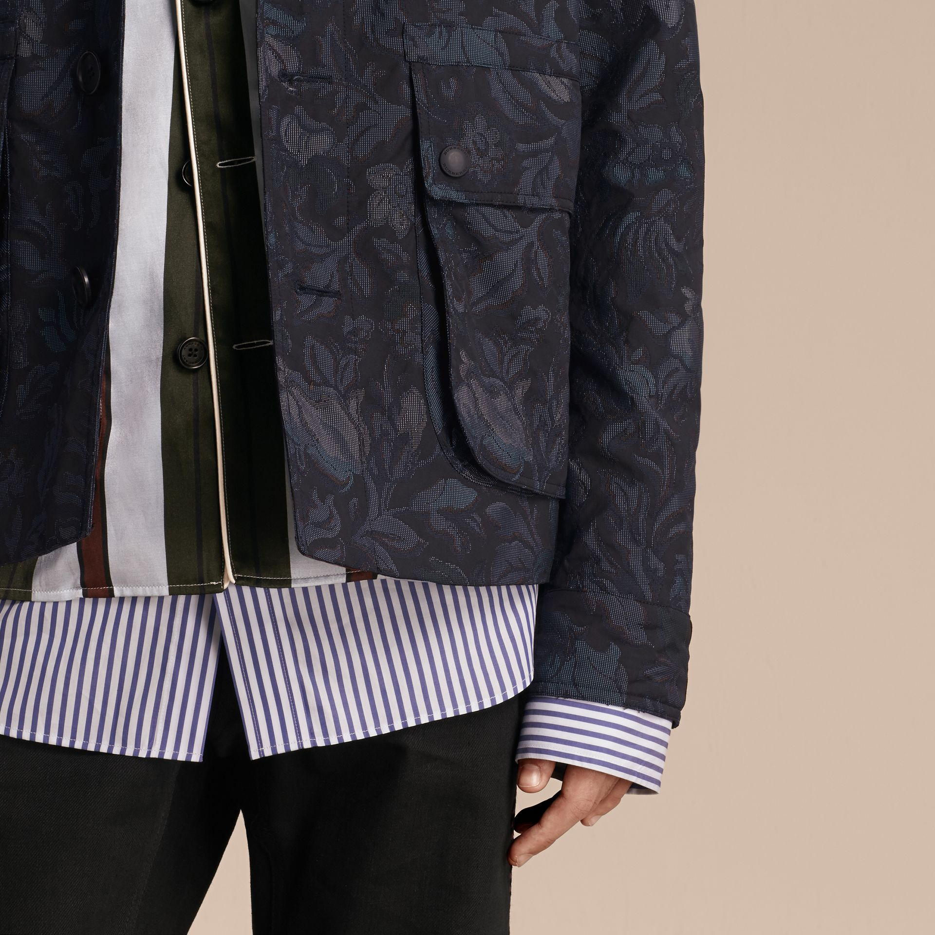 Navy Floral Jacquard Field Jacket with Corduroy Collar - gallery image 6