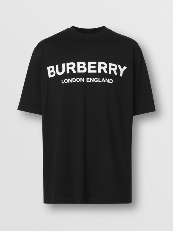 Logo Print Cotton T-shirt in Black - Men | Burberry - cell image 3