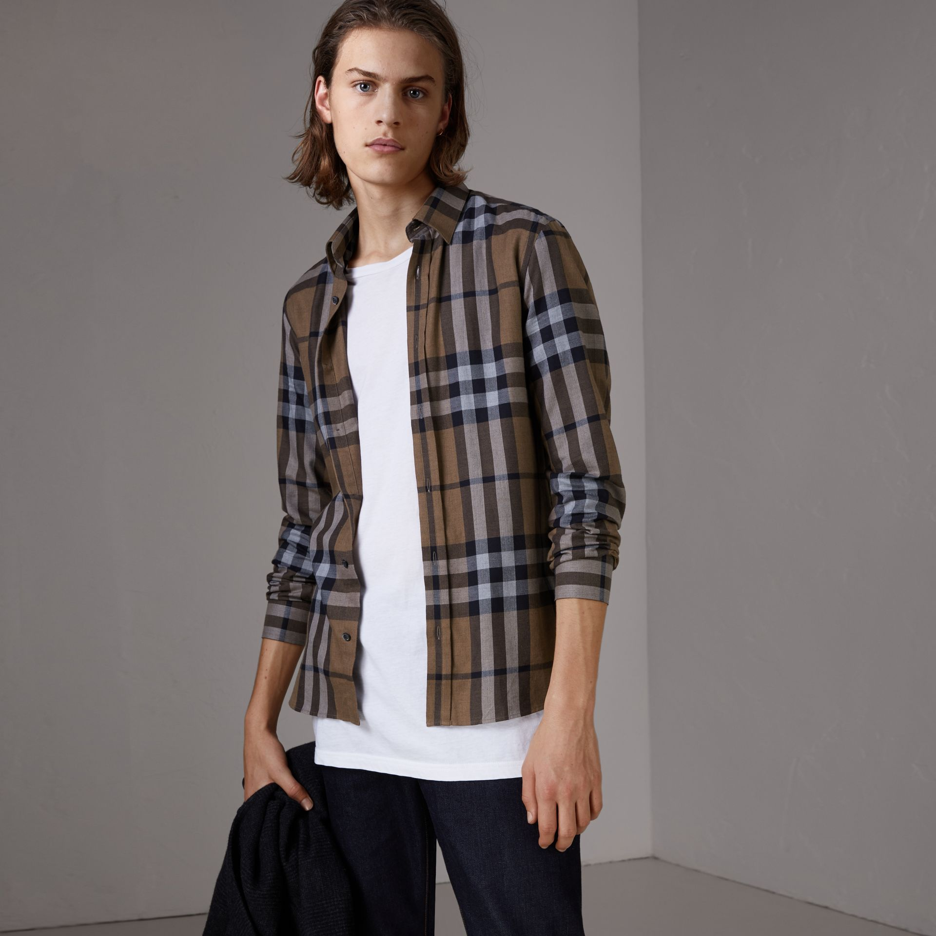 Check Cotton Cashmere Flannel Shirt in Walnut - Men | Burberry Singapore - gallery image 0
