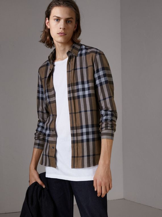Check Cotton Cashmere Flannel Shirt in Walnut
