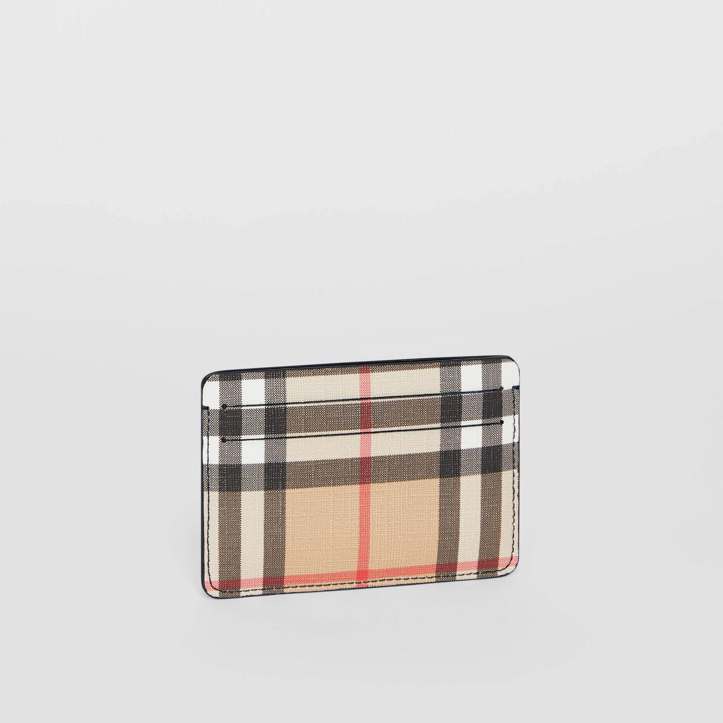 Porta carte di credito in e-canvas con motivo Vintage check (Nero) - Donna | Burberry - 4