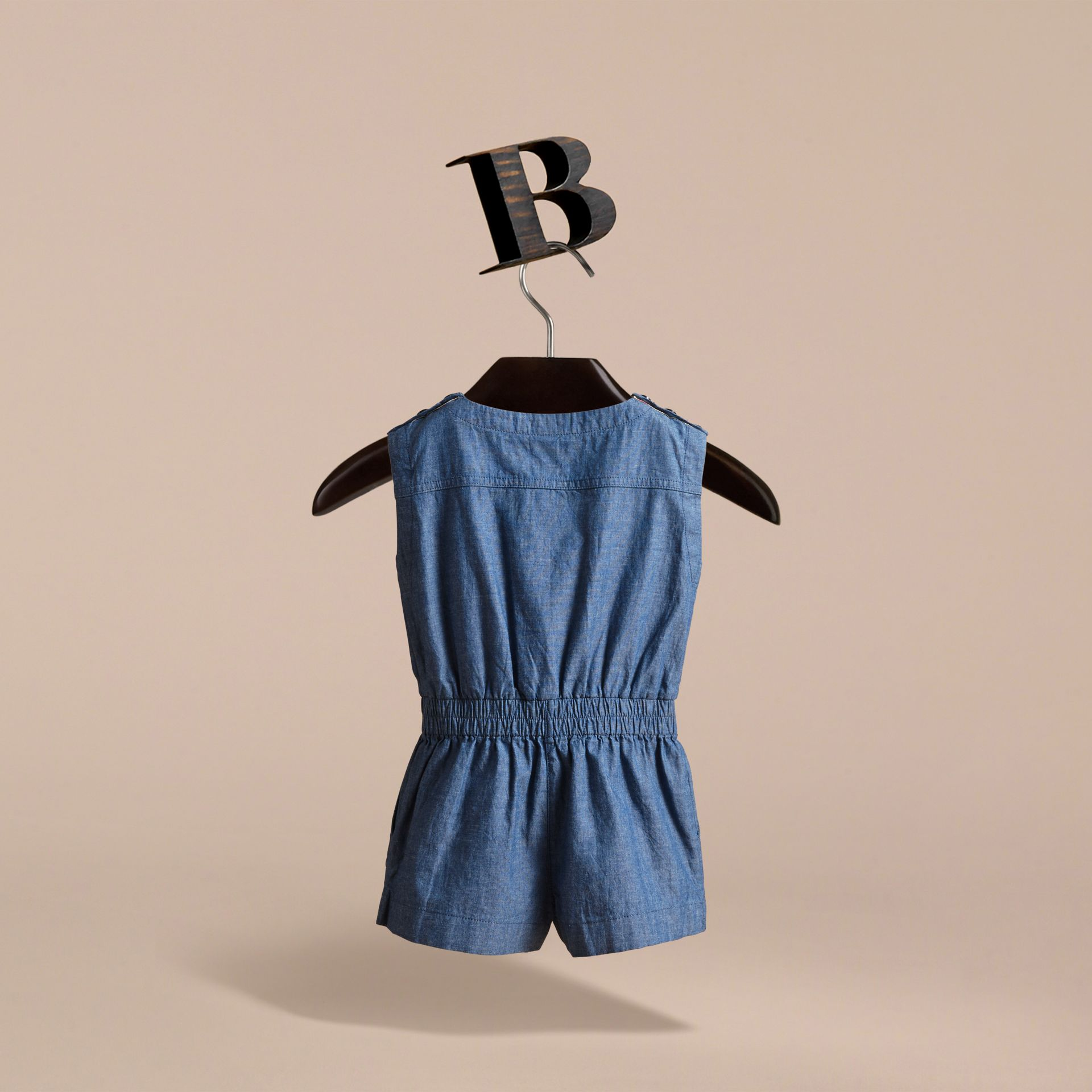 Sleeveless Cotton Chambray Playsuit - gallery image 4