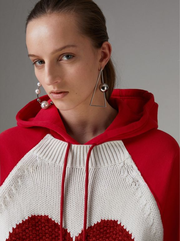 Heart Intarsia Cotton Blend Hoodie in Bright Red - Women | Burberry - cell image 1