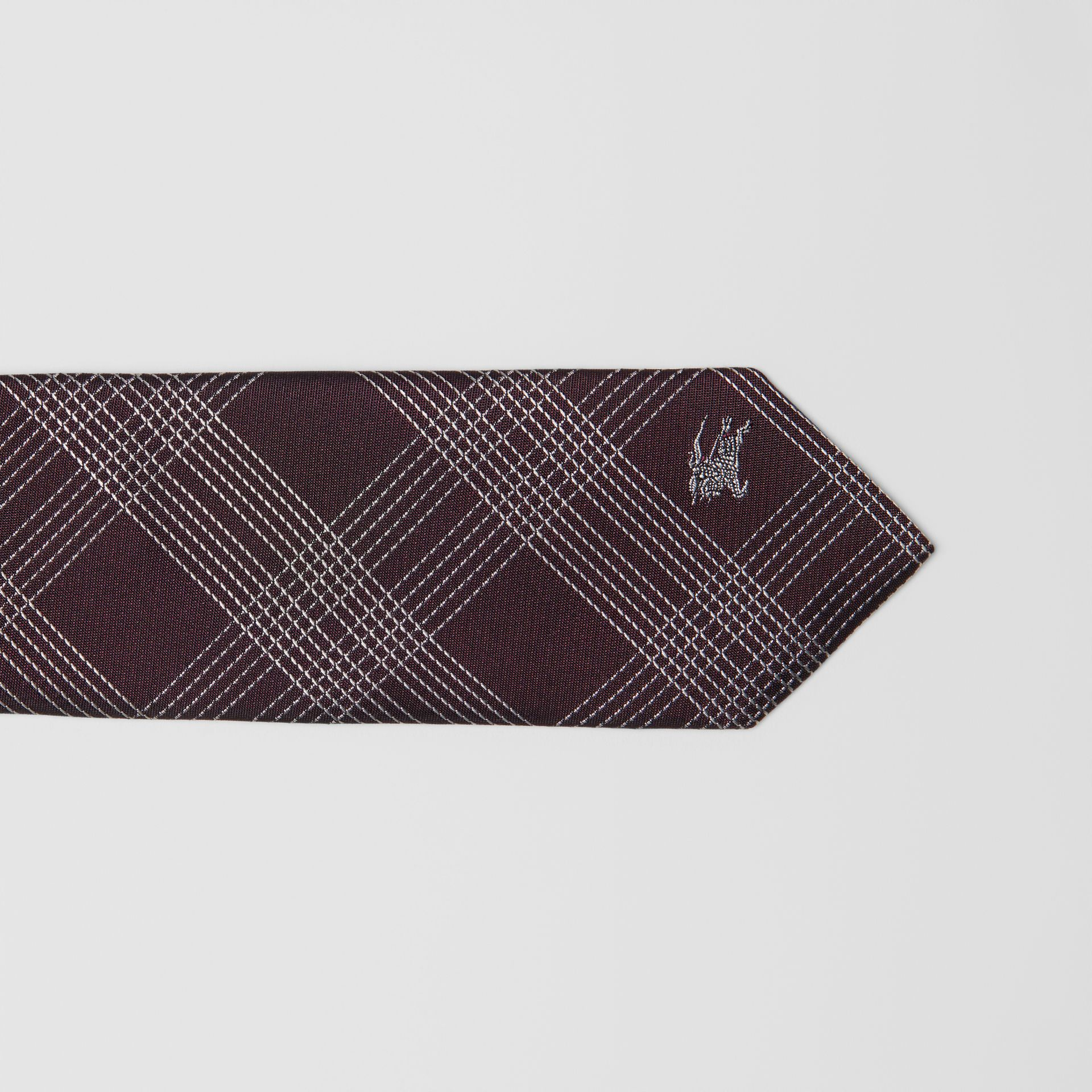 Modern Cut Check Silk Jacquard Tie in Dark Elderberry - Men | Burberry United States - gallery image 1