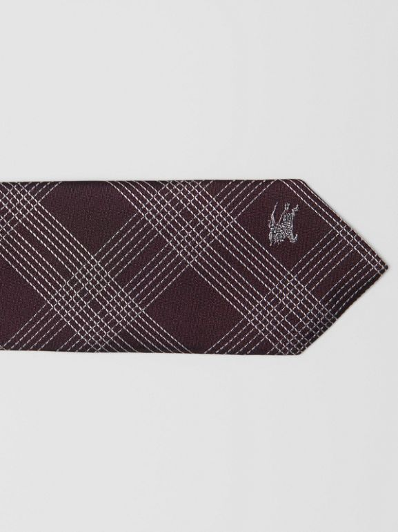 Modern Cut Check Silk Jacquard Tie in Dark Elderberry - Men | Burberry United Kingdom - cell image 1