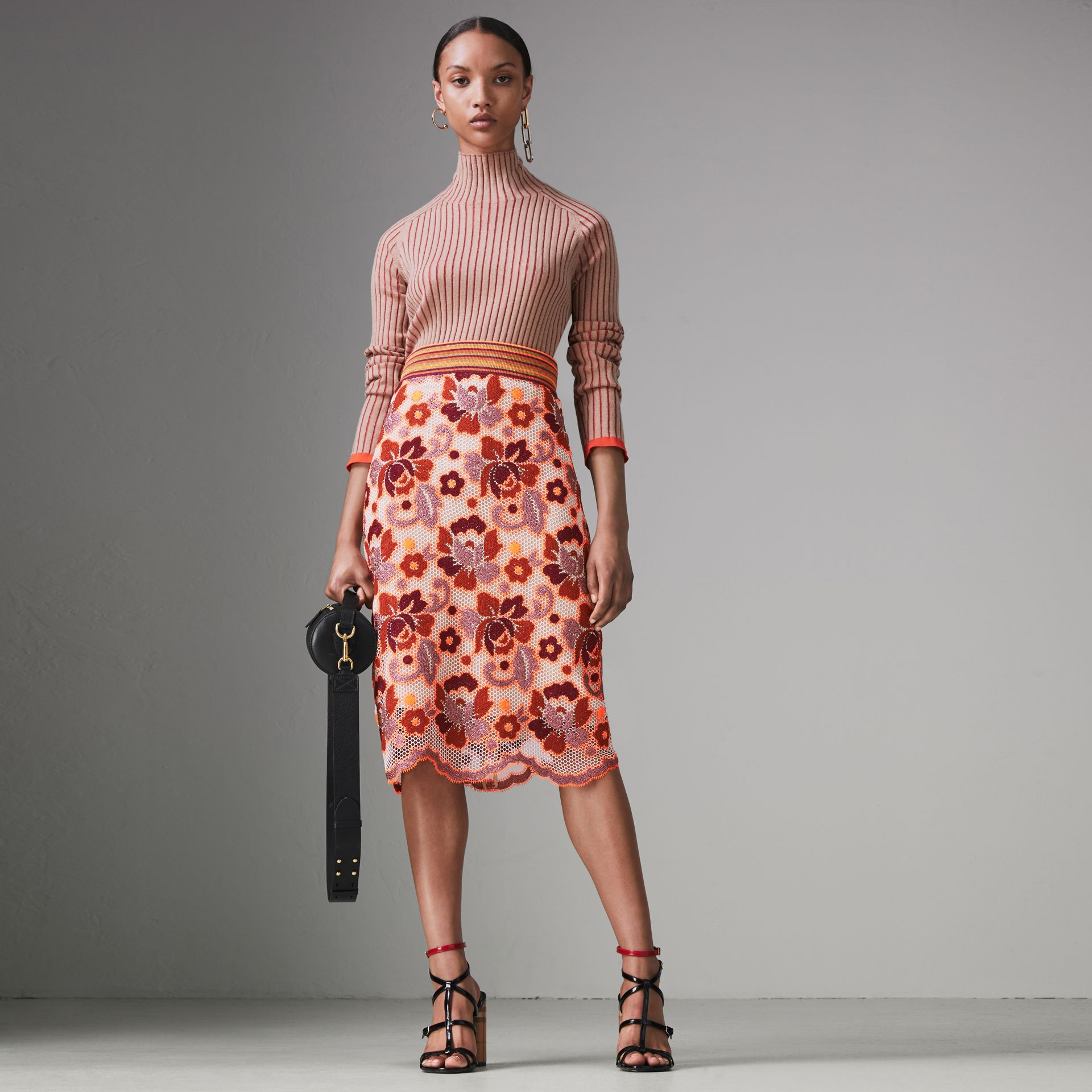 Floral Crochet Fitted Skirt in Bright Orange - Women | Burberry - gallery image 0
