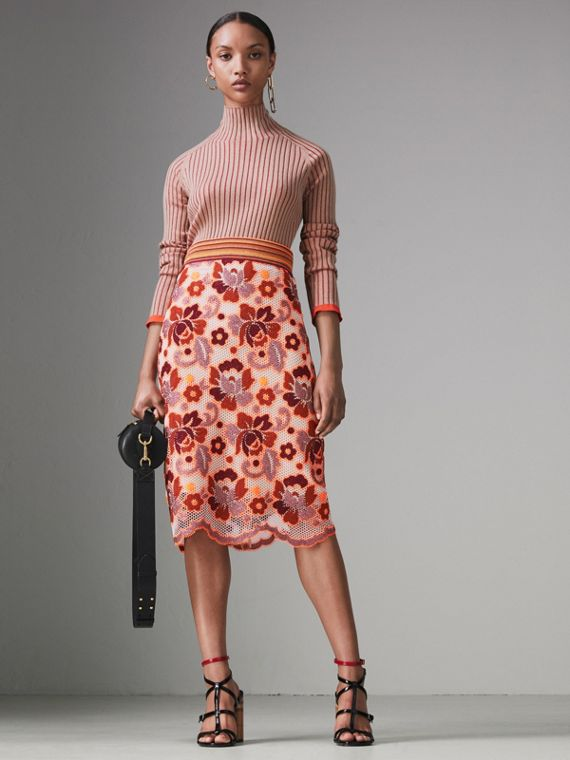 Floral Crochet Fitted Skirt in Bright Orange