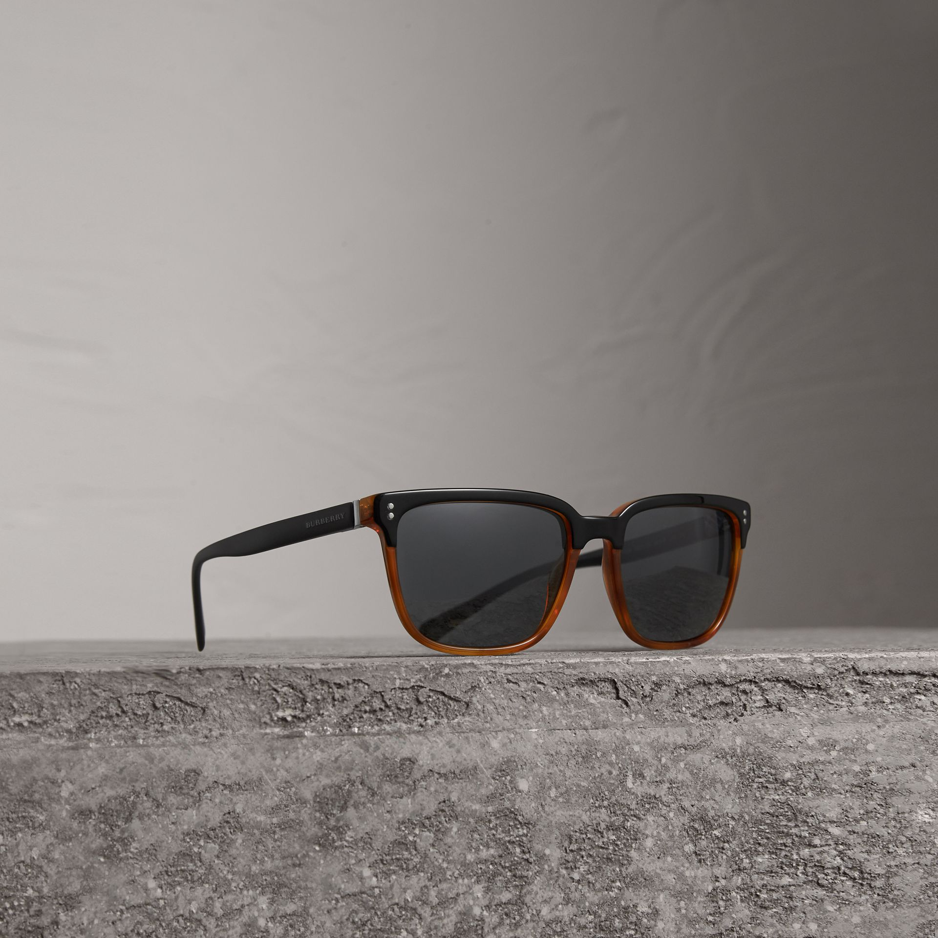 Square Frame Sunglasses in Light Brown - Men | Burberry Australia - gallery image 0