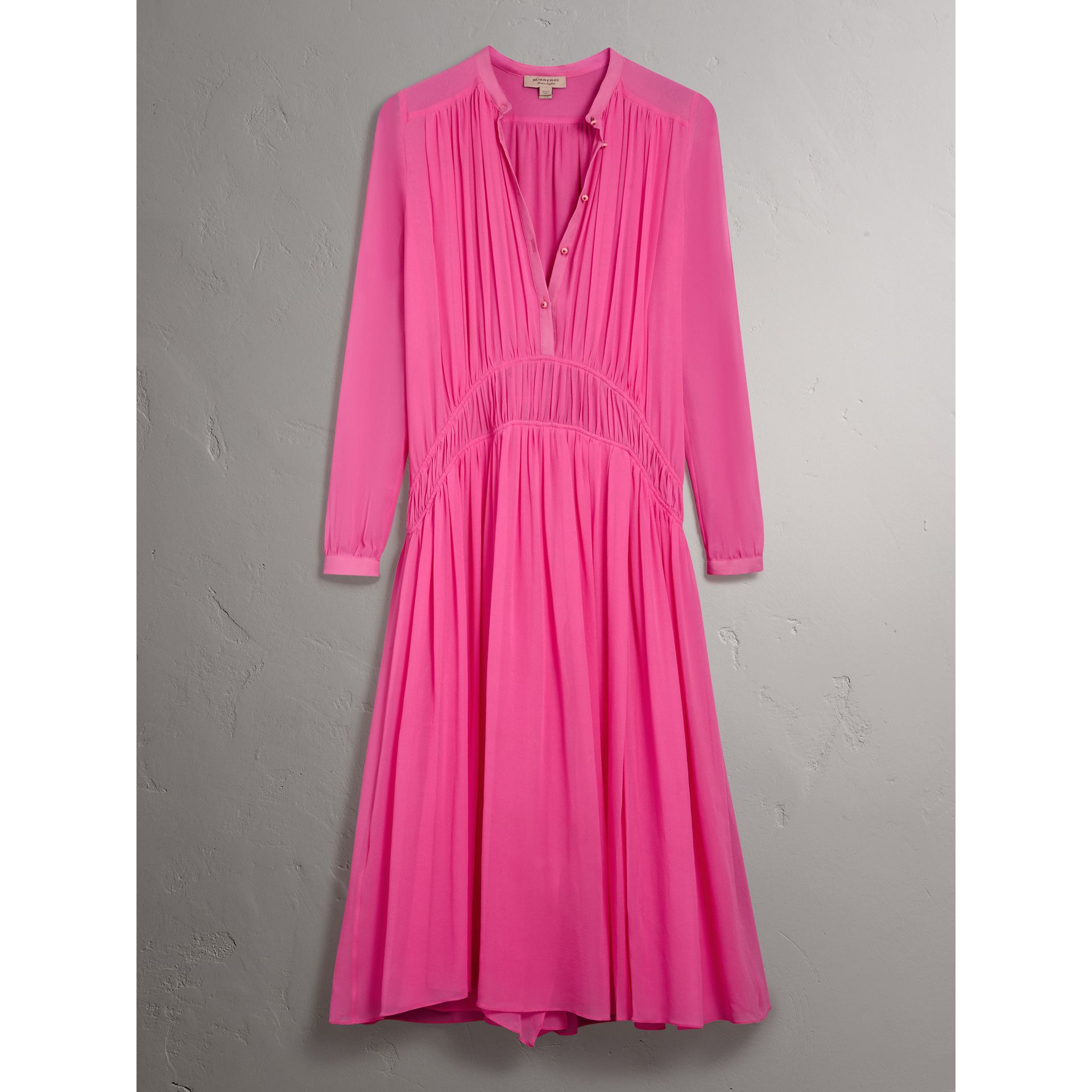 Gathered Silk Georgette Dress in Neon Pink - Women | Burberry United Kingdom - gallery image 3