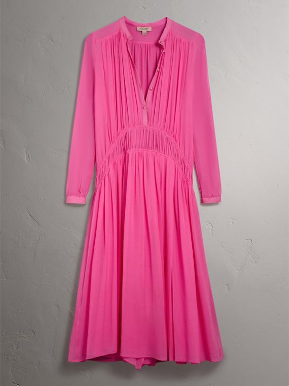 Gathered Silk Georgette Dress in Neon Pink - Women | Burberry United Kingdom - cell image 3