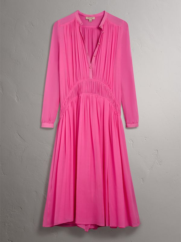 Gathered Silk Georgette Dress in Neon Pink - Women | Burberry - cell image 3
