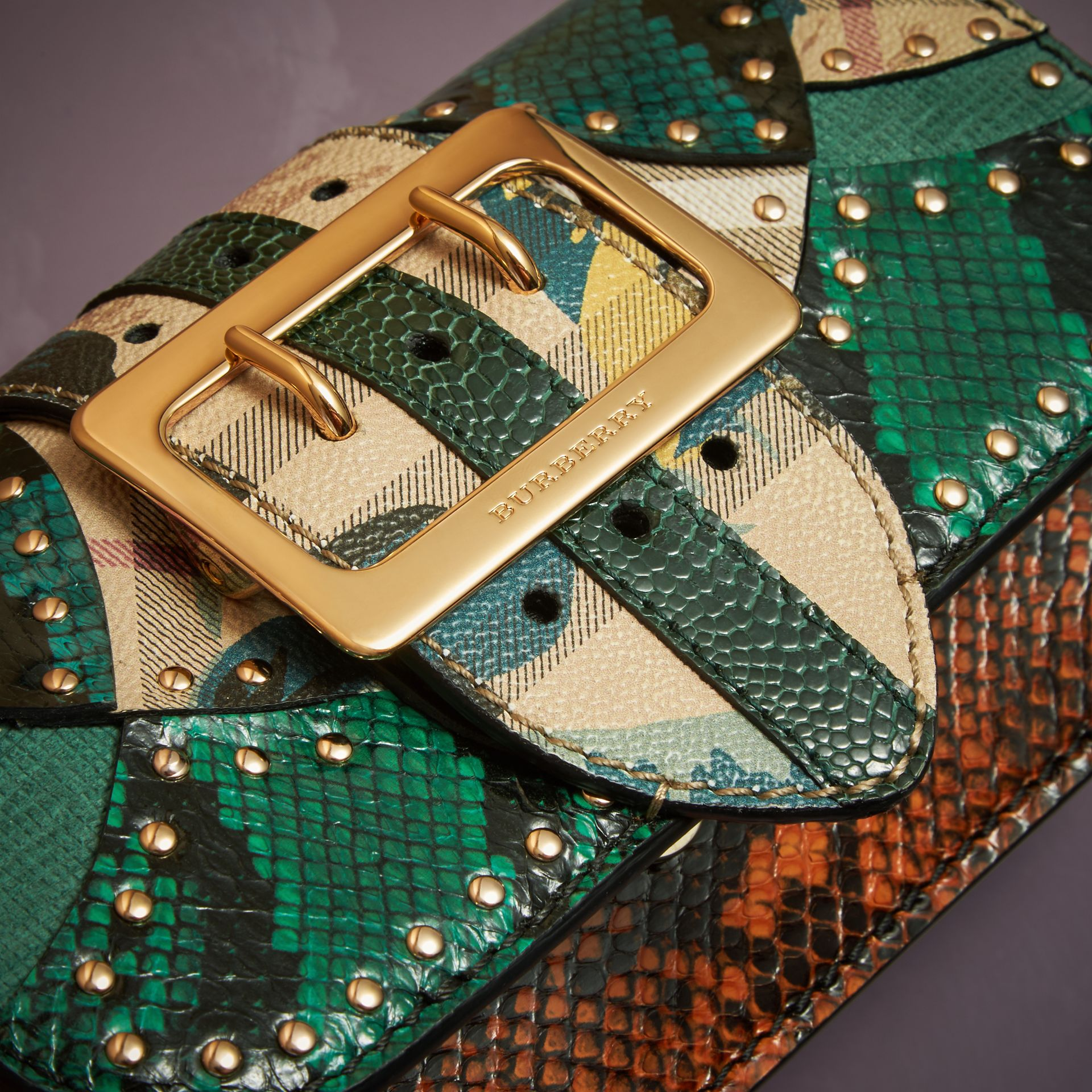 Turquoise The Small Buckle Bag in Riveted Snakeskin and Floral Print - gallery image 5