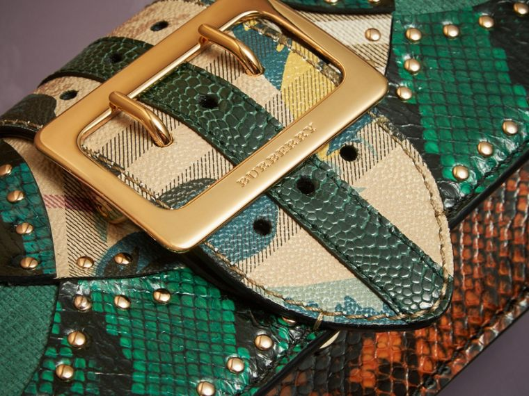 Turquoise The Small Buckle Bag in Riveted Snakeskin and Floral Print - cell image 4