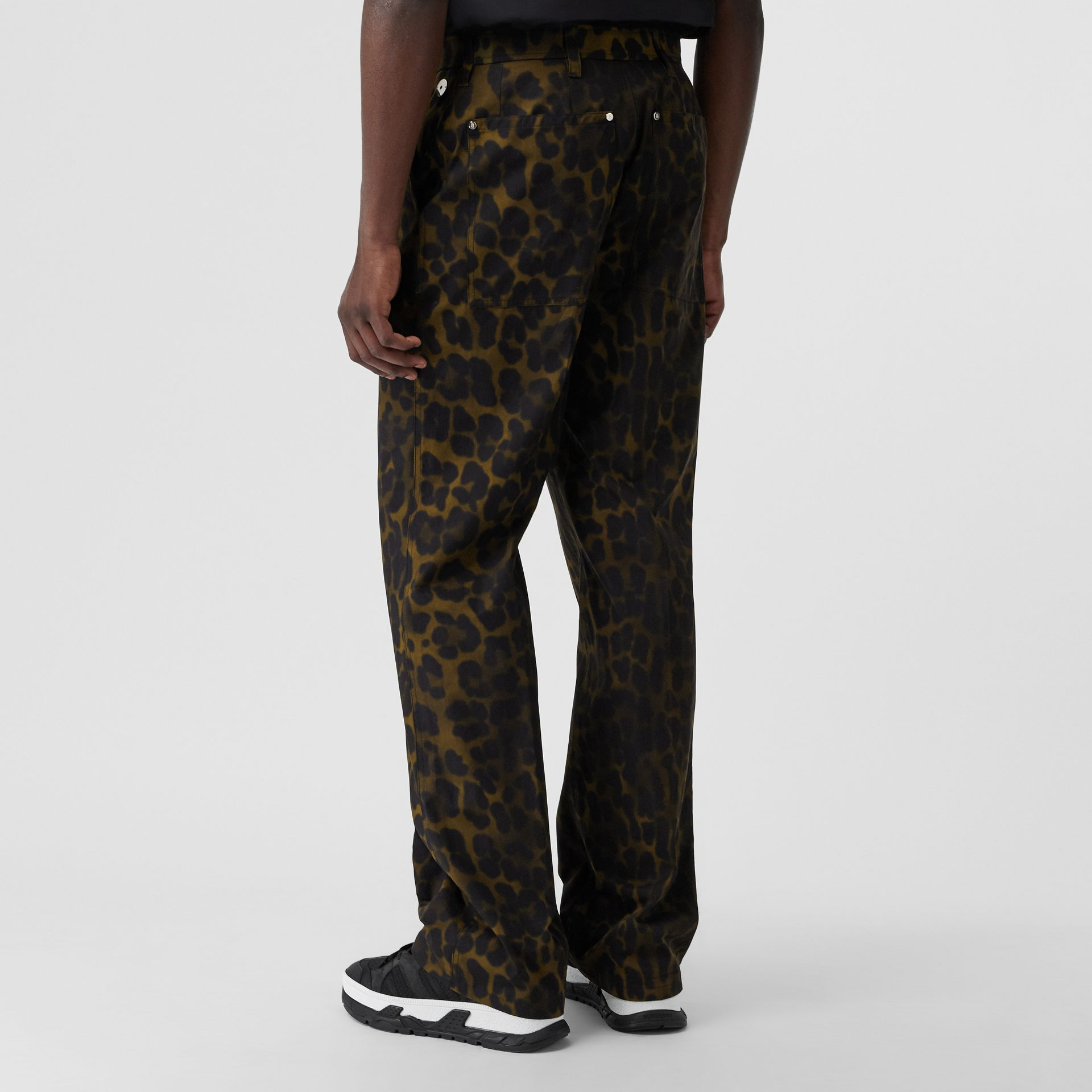 Relaxed Fit Leopard Print Cotton Trousers in Khaki Green | Burberry - gallery image 2