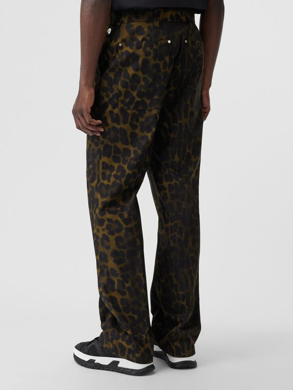 Relaxed Fit Leopard Print Cotton Trousers in Khaki Green | Burberry - cell image 2