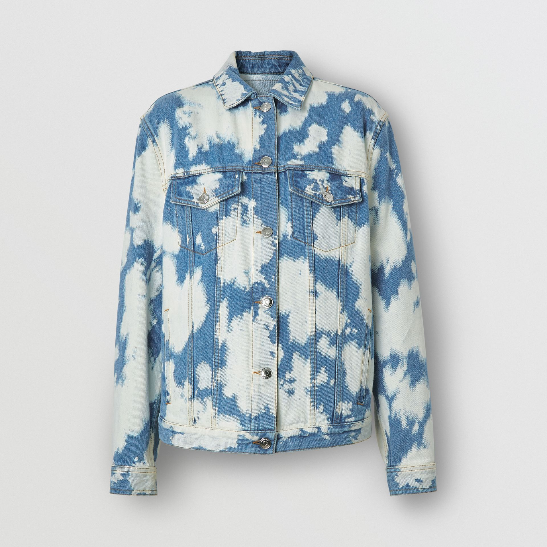 Monogram Motif Bleached Denim Jacket in Blue - Women | Burberry - gallery image 3