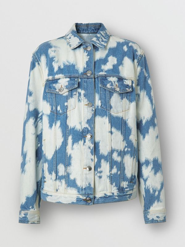 Monogram Motif Bleached Denim Jacket in Blue - Women | Burberry - cell image 3