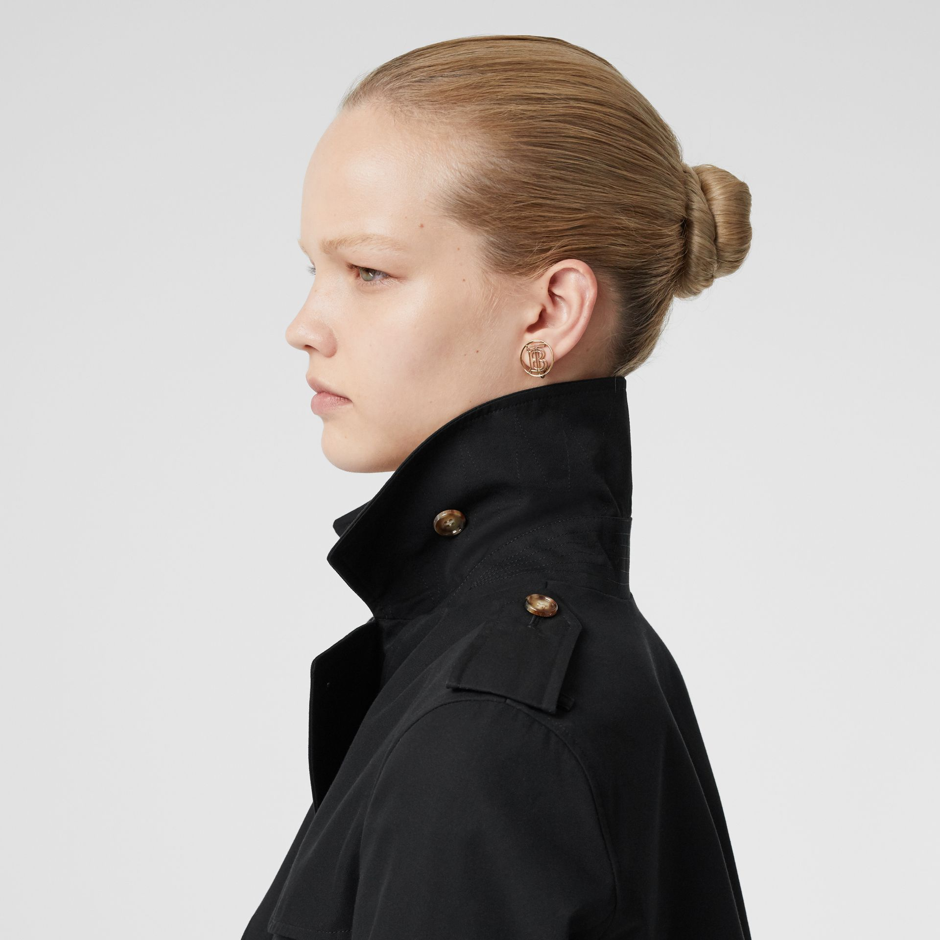 Cotton Gabardine Trench Coat in Black - Women | Burberry - gallery image 4
