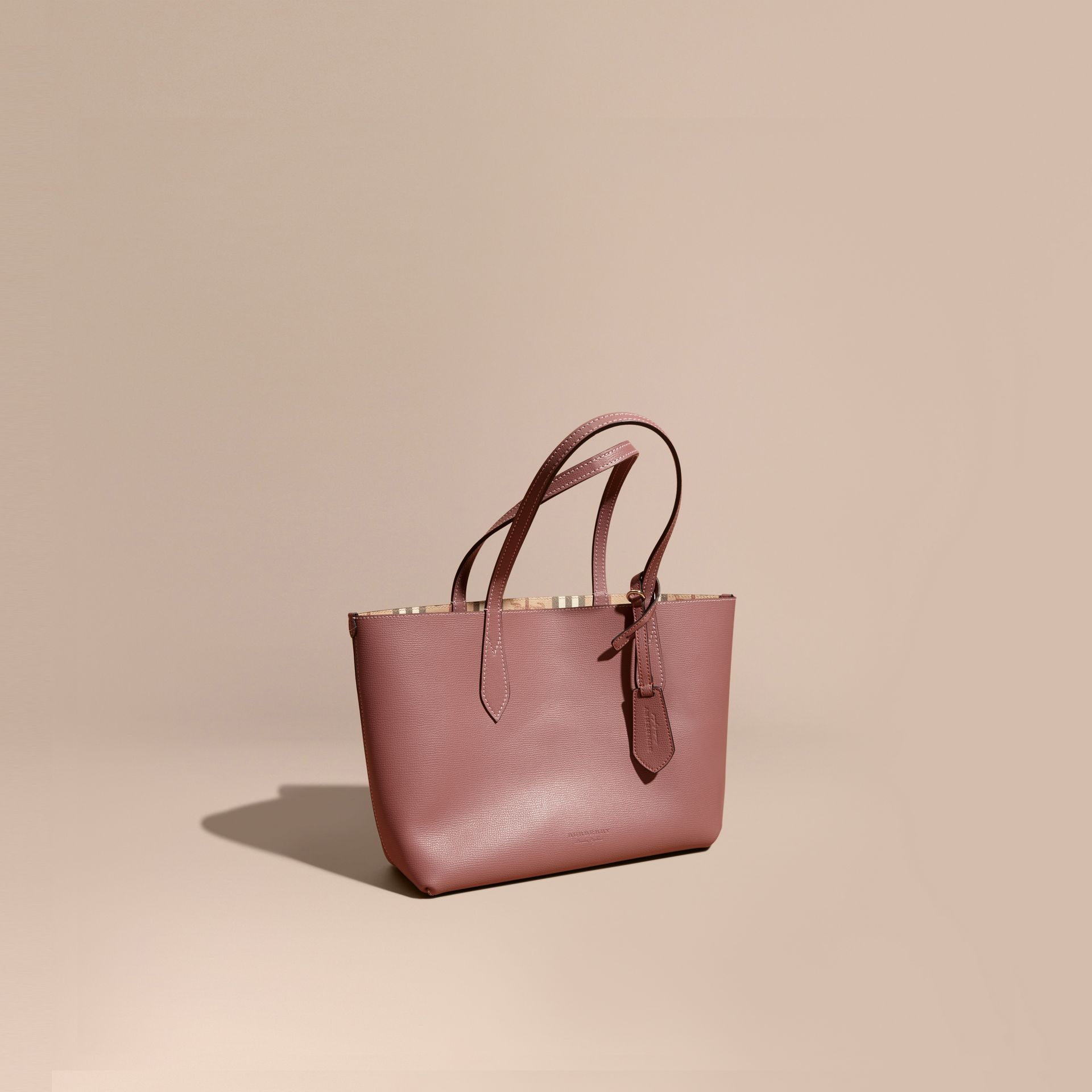 The Small Reversible Tote in Haymarket Check and Leather in Light Elderberry - Women | Burberry - gallery image 1
